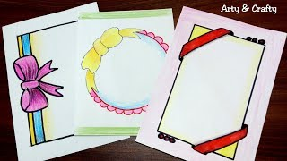 Ribbon Draw | Border Design on Paper | Designs for Front Page | Border for Project by Arty & Crafty