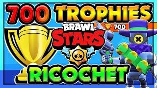 Ricochet PUSHING TO 700 TROPHIES! Gem Grab (Deep Hollows) - High Level Rico Gameplay - Brawl Stars