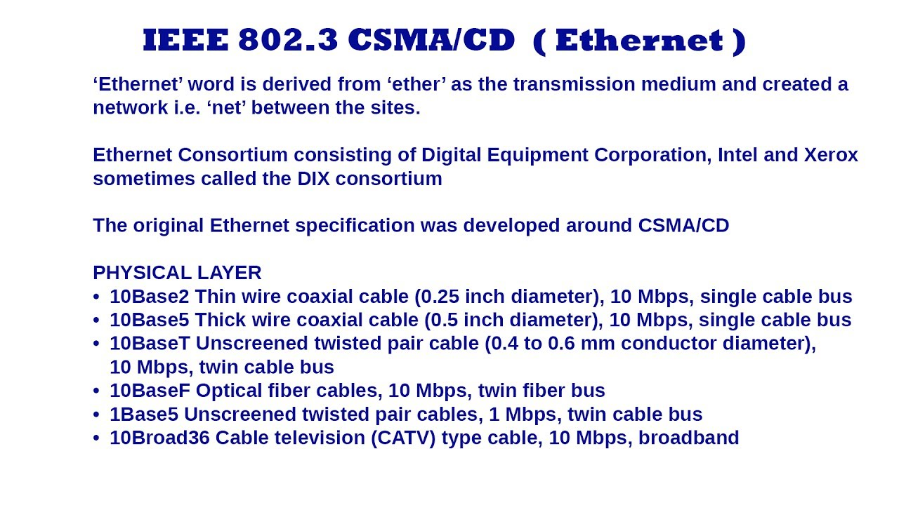 IEEE 802.3 CSMA/CD Ethernet - Introduction - YouTube