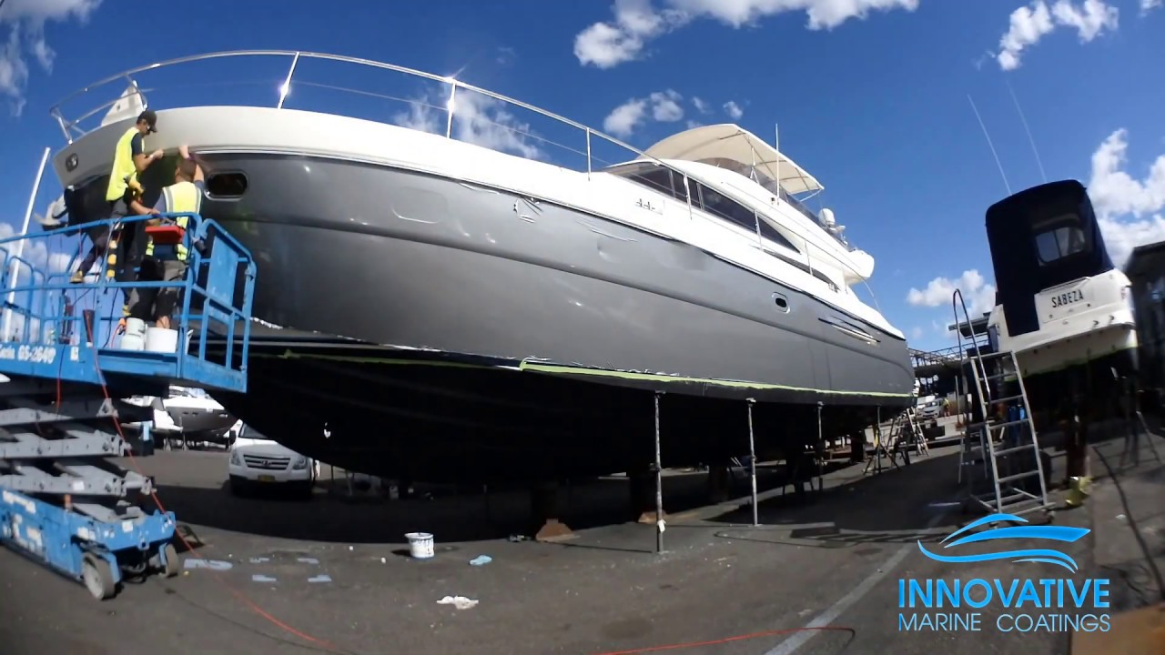 Vinyl Hull Wrap of Princess 65 Motor Yacht - 3M G251 Gloss Sterling Silver at Rozelle, Sydney
