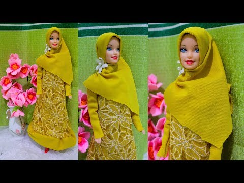 DIY Cara Mudah Membuat Gamis, Barbie Muslim | Barbie Doll Making Dress | Barbie Tutorial