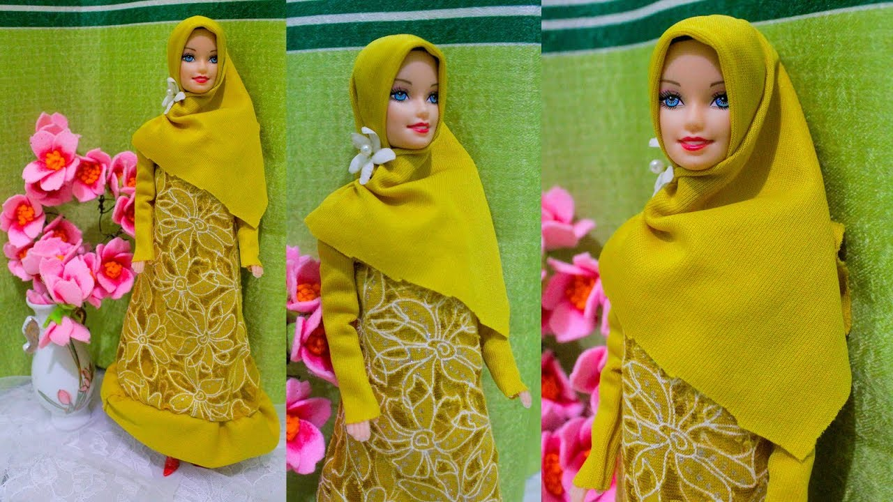 Diy Cara Mudah Membuat Gamis Barbie Muslim Barbie Doll Making Dress Barbie Tutorial