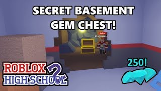 SECRET BASEMENT GEM CHEST - Roblox High School 2