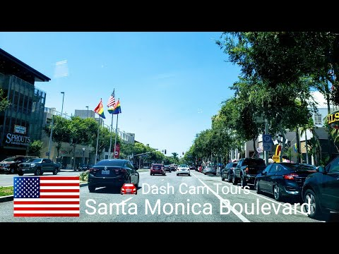Driving On Santa Monica Boulevard From Beginning To The End. Dash Cam Tours 🚘