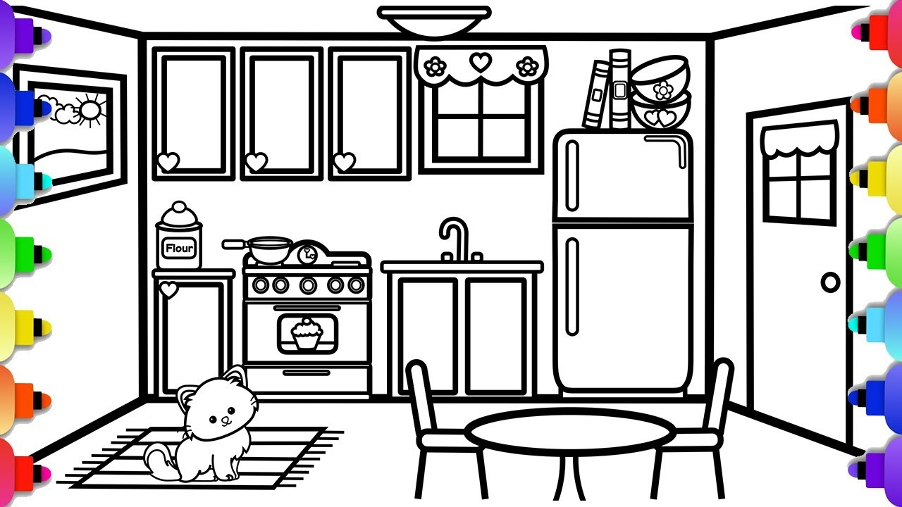 How to Draw a Kitchen 💕💜 ️💛💚💙Simple and Easy Kitchen ...