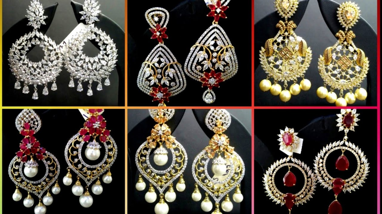83ce18c7fcc07 AD Earring Design||American Diamond Earrings with Price||Nafees Collection