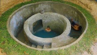 Dig To Build Most Water Slide Around Underground Swimming Pool