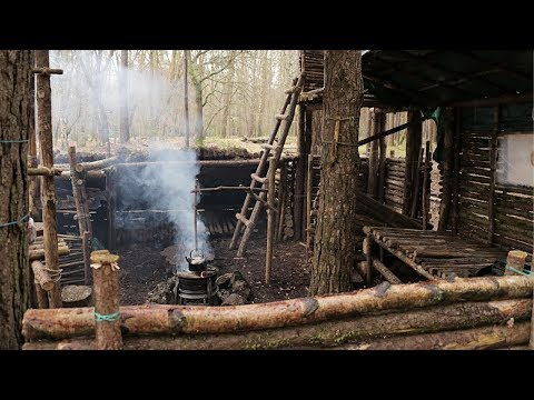 Bushcraft Camp Update 14 - Tunnel, Fire Pit Upgrade, Blacksmithing, Wood Mallet Carving
