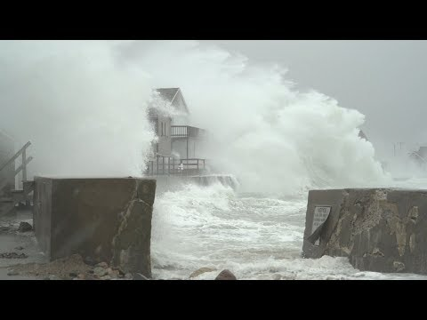 Extreme Storm Surge BLASTS Scituate, MA At High Tide - 3/2/2018