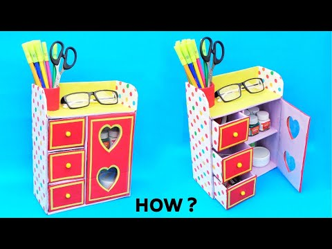 DIY : How to make Desk Organizer with cardboard box | Best out of waste | Space saving organizer