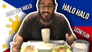 FILIPINO DESSERTS! Foreigner tries Halo Halo Leche Flan and more! Manila the Philippines