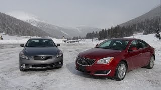 2014 Buick Regal vs Infiniti Q60 Coupe snowy AWD Loveland Gauntlet Mashup Review