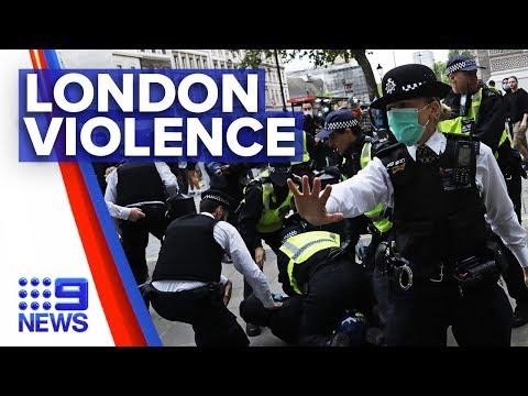 London peaceful protest escalates into violence | Nine News Australia