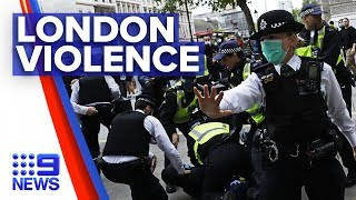 London peaceful protest escalates into violence | Nine News Australia