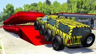 Giant Rollers Flatten Cars #2 - Beamng drive
