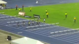 CARFITA Trials  2018 Amoi Brown  win the under 20 girls  100mH