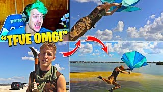 Ninja Reacts To Tfue Default Skin Cosplay and Jumping off Bridge! (Fortnite in Real Life)