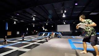 insane trampoline frisbee dunk   brodie smith