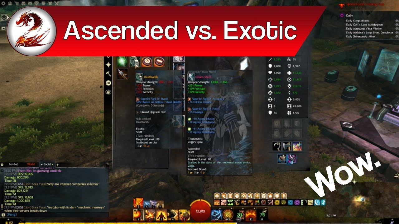 Guild Wars 2 Ascended Vs Exotic Gear Whats The Difference Is