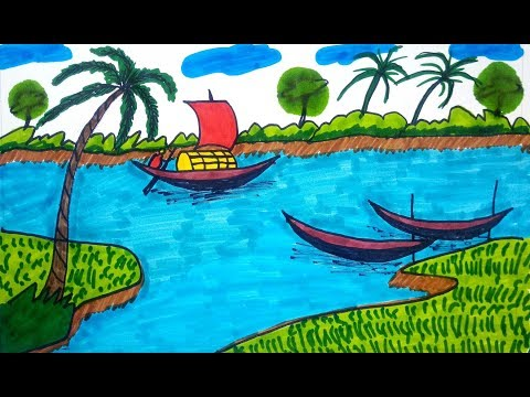 How To Drawing Scenery | Scenery Of River | Drawing For Kids, Children's & Beginners Step By Step