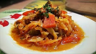 Тушеная капуста с мясом в мультиварке рецепт Stewed cabbage with meat in multicookings recipe