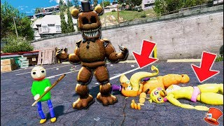 SINISTER FREDDY & ADVENTURE BALDI PLAY DETECTIVE! ANIMATRONIC MYSTERY! (GTA 5 Mods FNAF RedHatter)