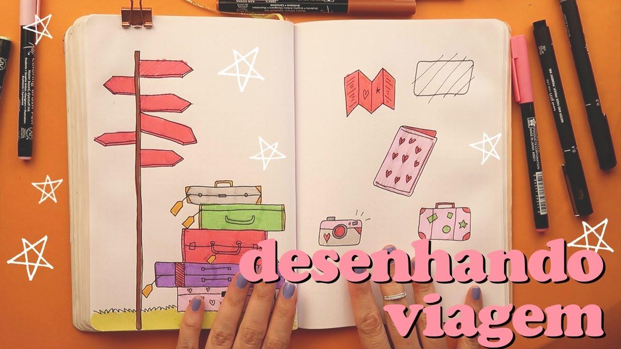 Como Desenhar Itens De Viagem Para Bullet Journal Youtube