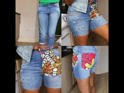 Diy Jeans Ripped With Stud And Ankara No Sewing Machine Needed Enchanting How To Patch Jeans Without A Sewing Machine