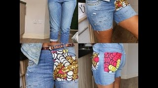 Download Video Diy jeans, Ripped with stud and Ankara (No sewing machine needed) MP3 3GP MP4