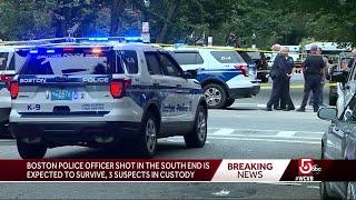 Police: Officer shot in leg in South End; 3 in custody
