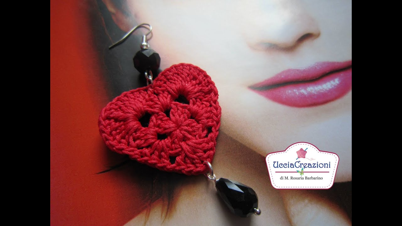 abbastanza TUTORIAL 1 . * ORECCHINI CUORE ALL' UNCINETTO * HOW TO EARRINGS  QX84