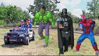 Video Little Heroes 7 - The Germ Police And Their Cop Car - With Spiderman, The Hulk, And Darth Vader download MP3, 3GP, MP4, WEBM, AVI, FLV Agustus 2017