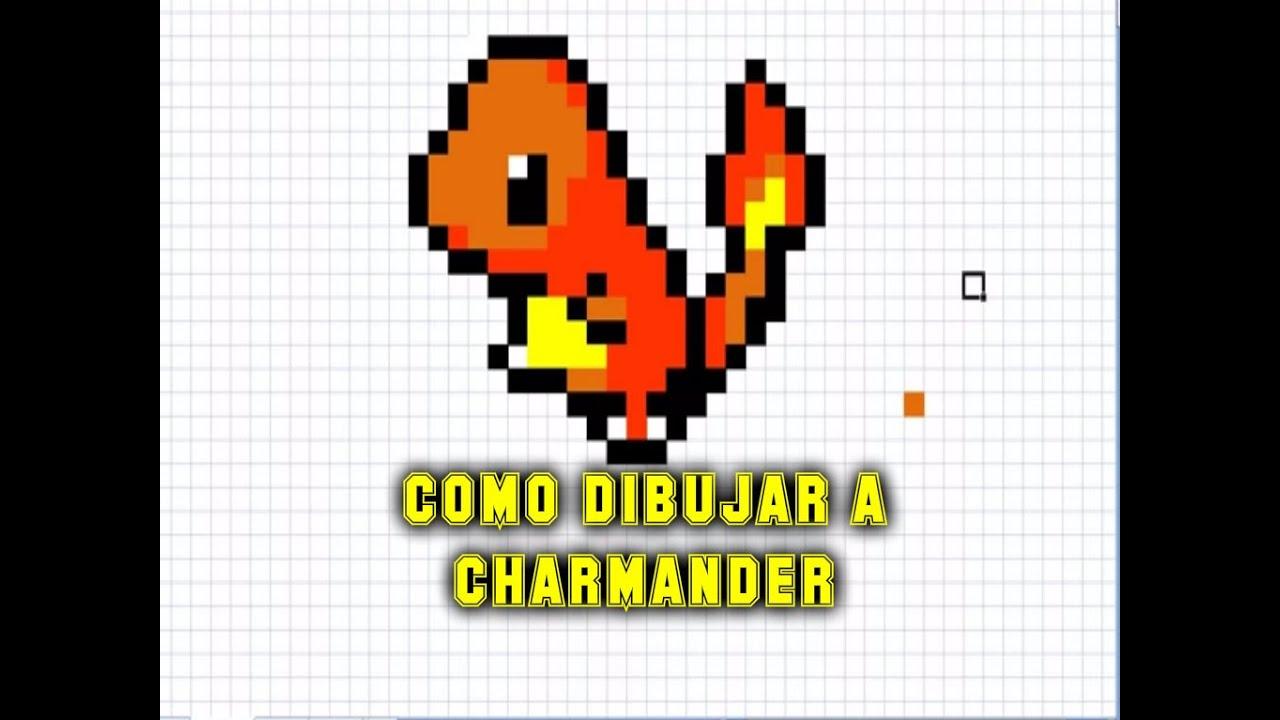 Como dibujar a Charmander  Para Minecraft  Pixel Art  How to