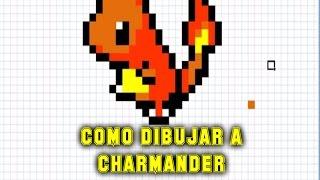 Como dibujar a Charmander   Para Minecraft   Pixel Art   How to draw Charmander