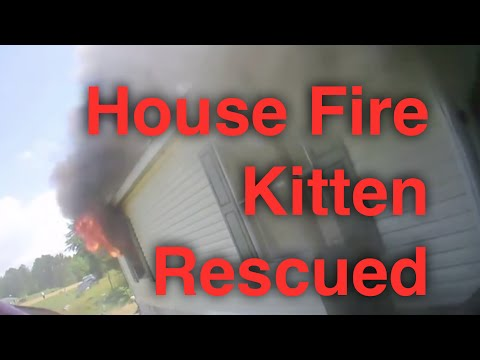 House Fire - Helmet Cam View with Kitten Rescued