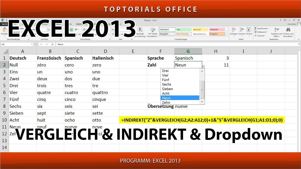 VERGLEICH() & INDIREKT() und Dropdownlisten (Excel) - YouTube