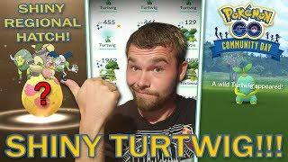 SHINY TURTWIG COMMUNITY DAY! ANOTHER SHINY REGIONAL HATCHED! (Pokemon GO)