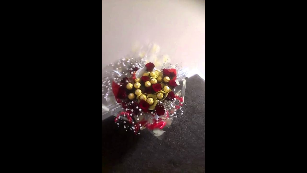 Ferrero rocher and roses bouquet - YouTube