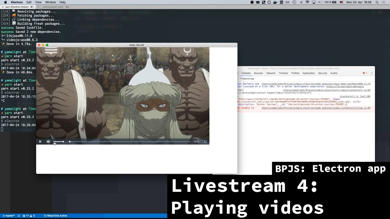 BPJS: Electron app - Livestream 4 - Trying to stream videos
