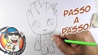 Como Desenhar GROOT KAWAII - PASSO A PASSO