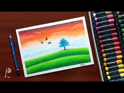 Simple Republic Day Landscape Drawing with Oil Pastels | PrabuDbz Art