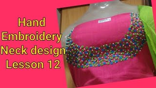 Hand Embroidery neck design Lesson11 Malayalam
