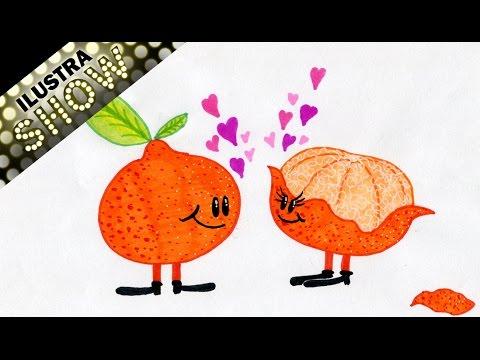 Como dibujar Lindas MANDARINAS ENAMORADAS  Frutas  Tutorial