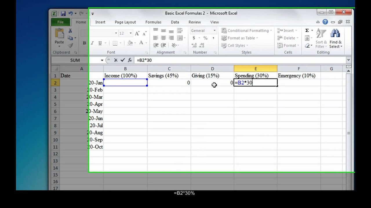 using basic excel formulas for budgeting