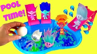 Trolls Movie Poppy Branch Satin Chenille Guy Diamond Dive for Toy Surprise in Orbeez Bath Bomb Pool!