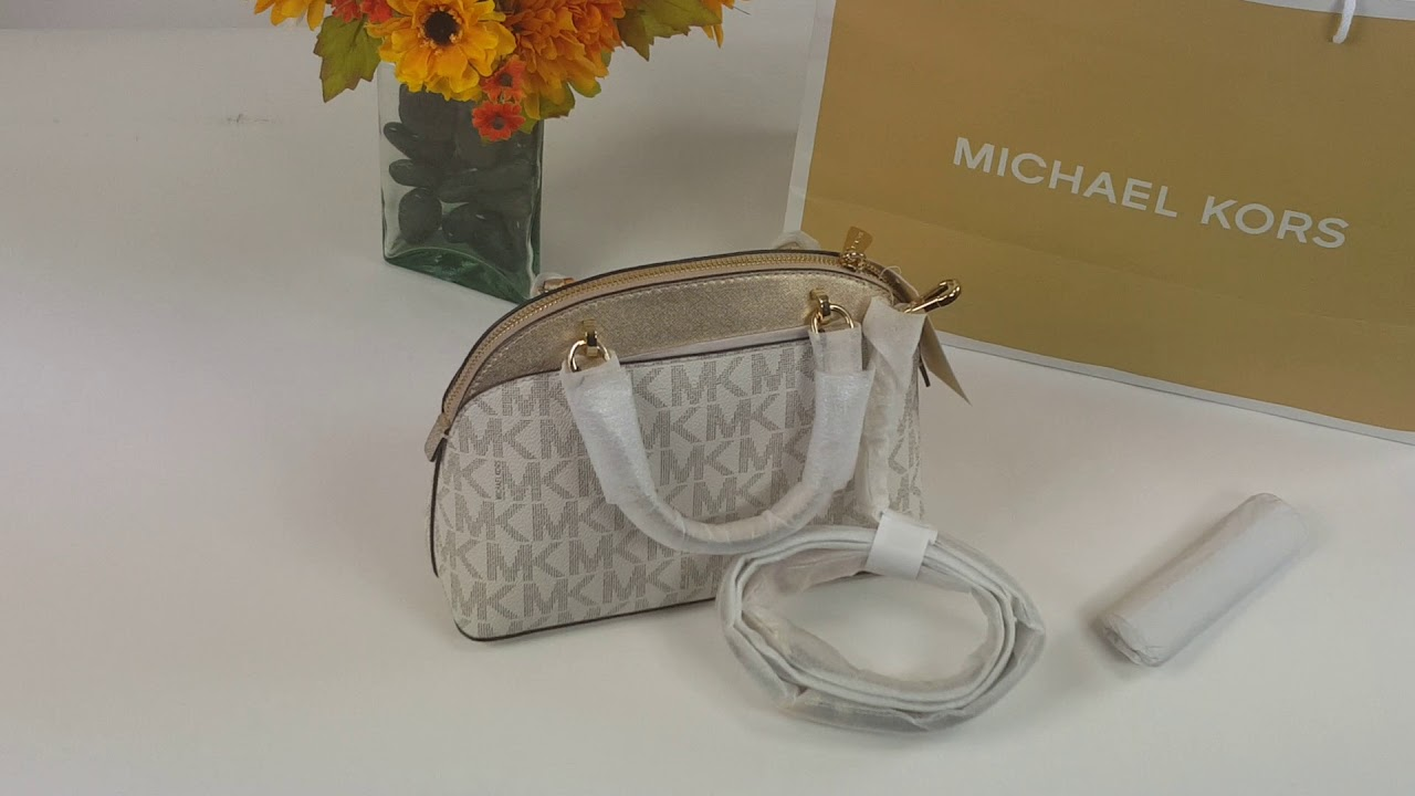 3e2408040b57 Michael kors emmy small dome satchel Vanilla gold Deal - YouTube
