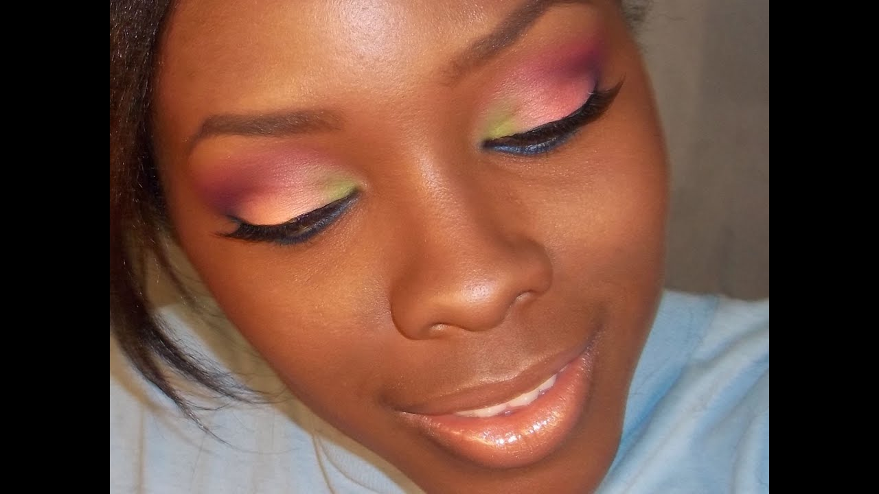 Colorful tropical makeup tutorial on DARK SKIN - YouTube
