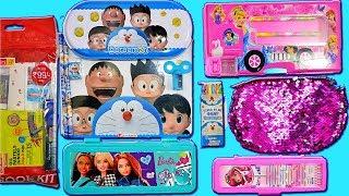 Disney Princess pencil case, Barbie pencil box and Doraemon pencil box set