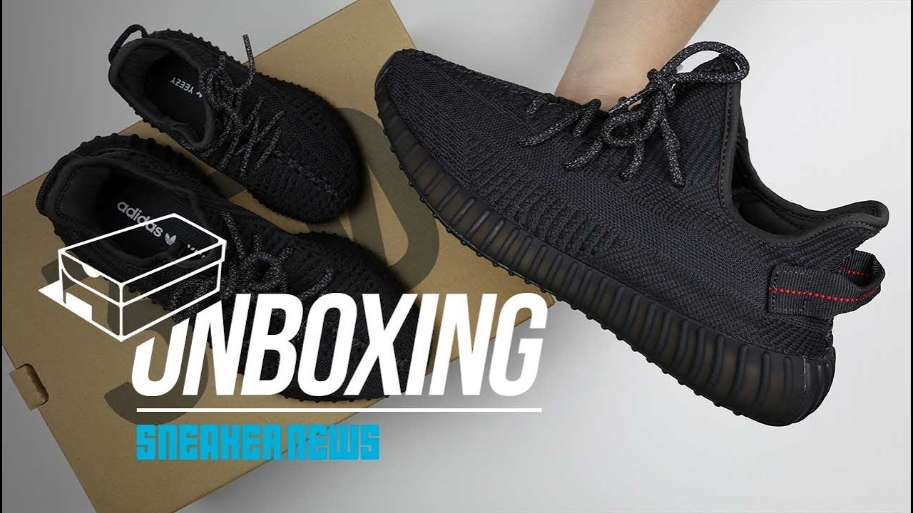 Yeezy 350 Black Unboxing + Review - YouTube