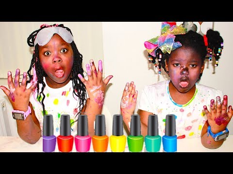 FUN KIDS MAKE UP AND FACE PAINT TUTORIAL CHALLENGE! Sisters Try On Makeup thumbnail